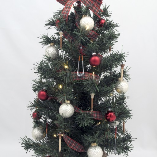 Golf Themed Green Tabletop Lighted Christmas Tree