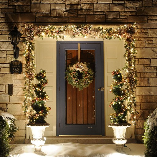 Christmas Holiday Décor, Lighted, Exterior, Front Entrance, Decorated Garland, Wreath, Topiary
