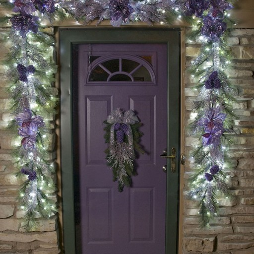 Christmas Holiday Décor, Lighted, Exterior, Front Entrance Decorated Garland, Swag