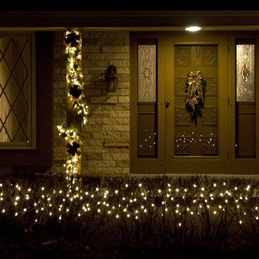 Christmas Holiday Décor, Lighted, Exterior, Front Entrance, Decorated Garland, Swag, Tree, Shrubs